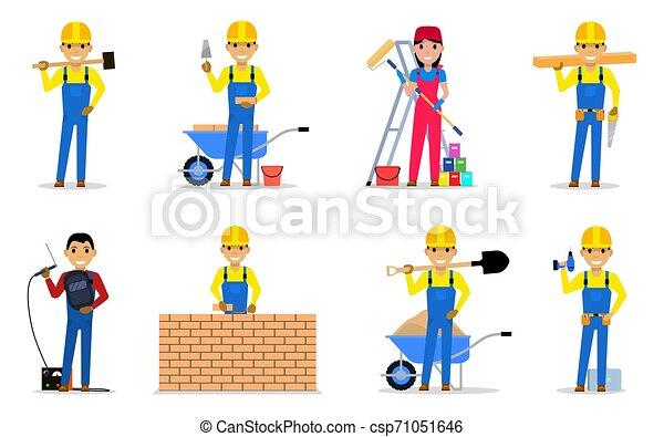 Un grupo de constructores y trabajadores - csp71051646