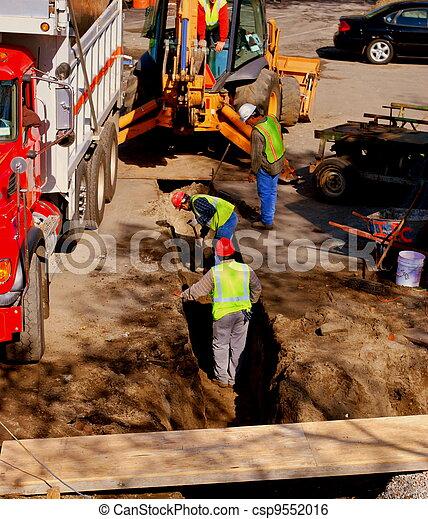 trabajadores, construcción, excavar - csp9552016