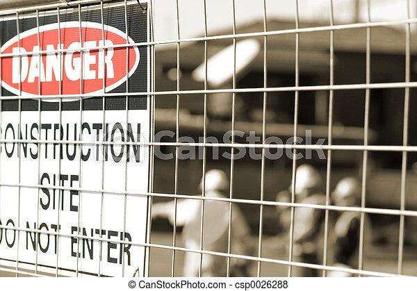 trabajadores, construcción, signage - csp0026288