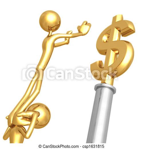 Trabajando juntos por un dólar de oro - csp1631815