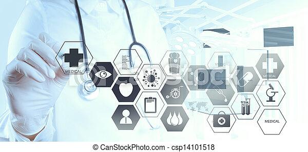 trabajando, doctor, moderno, mano, medicina, computadora, interfaz - csp14101518