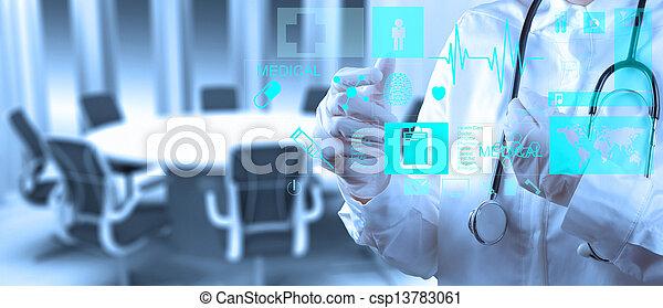 trabajando, doctor, moderno, medicina, computadora, interfaz - csp13783061