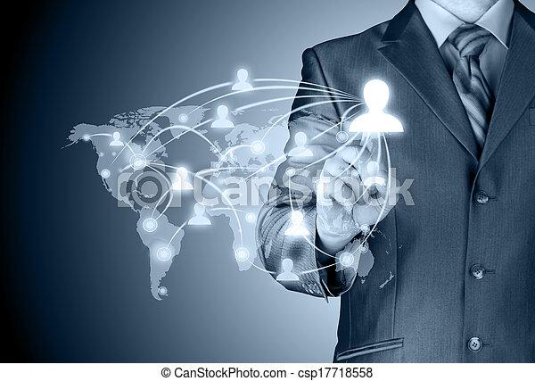 trabajando, exposición, moderno, computadora, nuevo, hombre de negocios - csp17718558