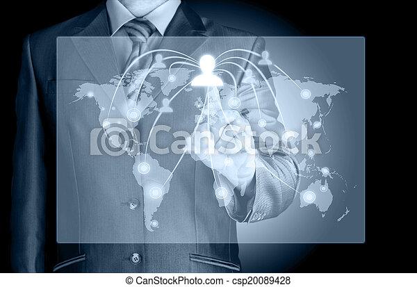 trabajando, exposición, moderno, computadora, nuevo, hombre de negocios - csp20089428