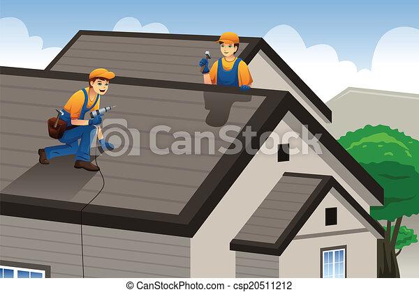 Roofer trabajando en el techo - csp20511212