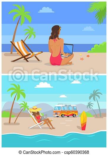 Trabajo por la costa independiente establecer ilustración vectorial - csp60390368