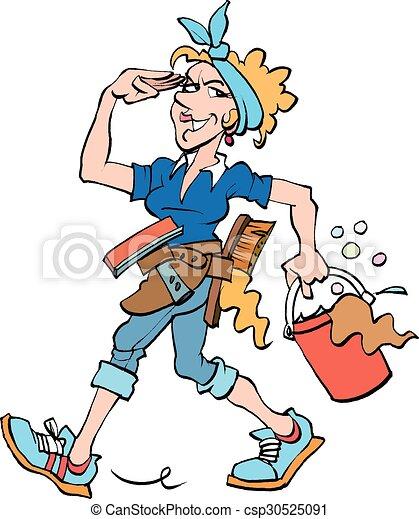 La señora de la limpieza en el trabajo - csp30525091