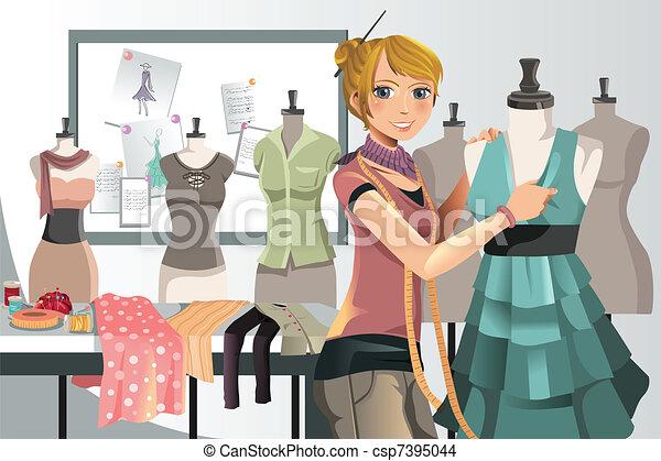 Diseñador de moda en el trabajo - csp7395044