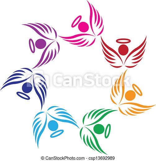 trabajo en equipo, apoyo, ángeles, logotipo - csp13692989