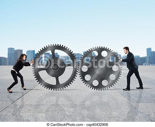 Trabajo en equipo de gente de negocios - csp40432906