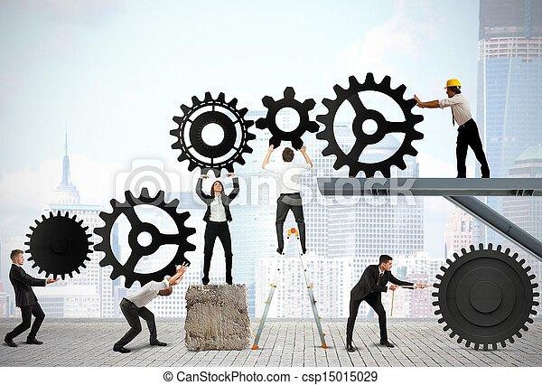 Trabajo en equipo de gente de negocios - csp15015029