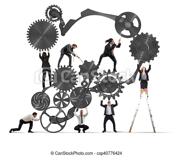 Trabajo en equipo de gente de negocios - csp40776424