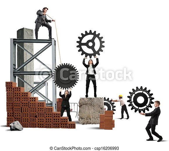 Trabajo en equipo de gente de negocios - csp16206993
