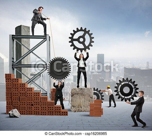 Trabajo en equipo de gente de negocios - csp16206985