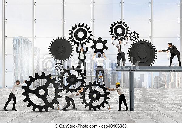 Trabajo en equipo de gente de negocios - csp40406383