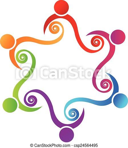 Logo del concepto de amistad en equipo - csp24564495