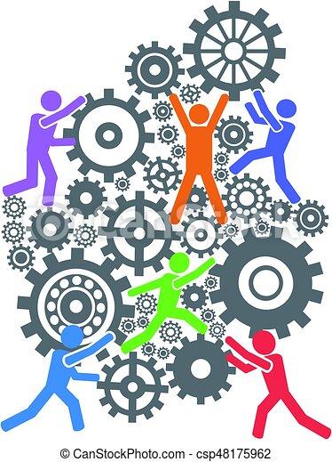 Trabajo En Equipo Engranajes Personas De Plano De Fondo