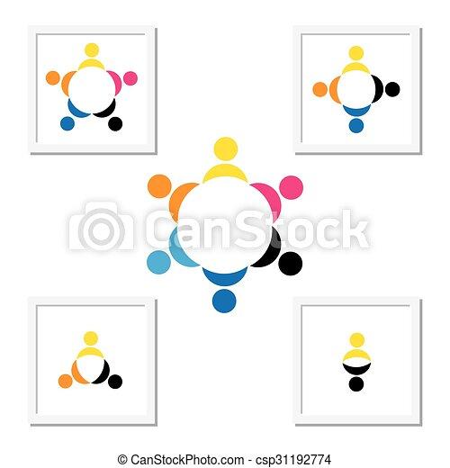 Concepto de niños jugando, trabajo en equipo y diversidad - csp31192774