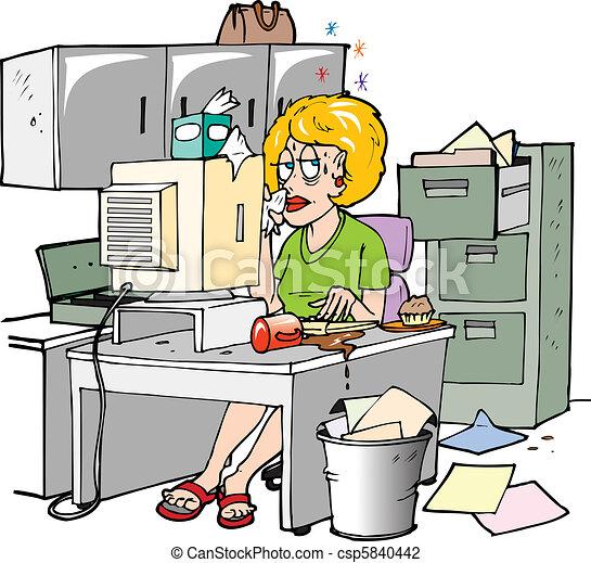 Enfermo en el trabajo - csp5840442