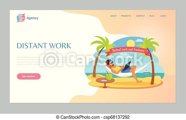 Freelancer tendido en la hamaca, vector de trabajo distante - csp68137292