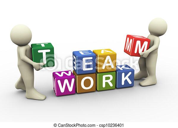 3 personas trabajan en equipo - csp10236401