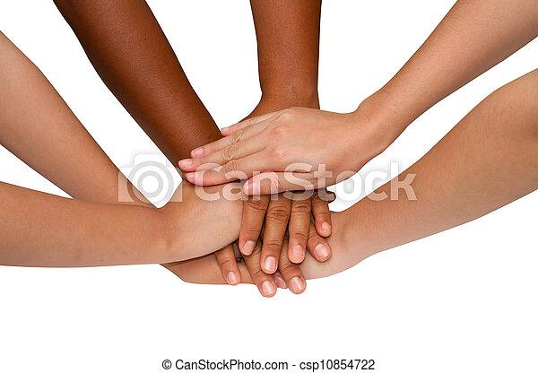 Trabajo en equipo y espíritu de equipo, apretón de manos en un grupo después del trabajo exitoso - csp10854722