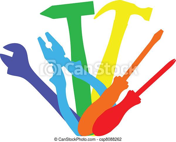 trabajo, herramientas, colorido - csp8088262