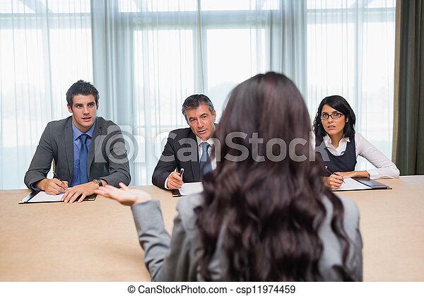 Una mujer entrevistada para un nuevo trabajo - csp11974459
