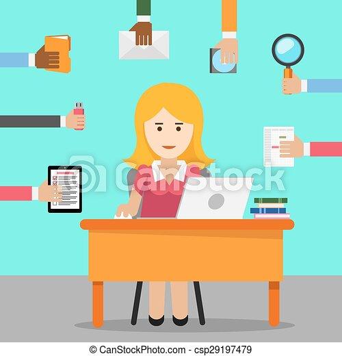 Secretario. Una mujer ocupada para el trabajo de oficina - csp29197479