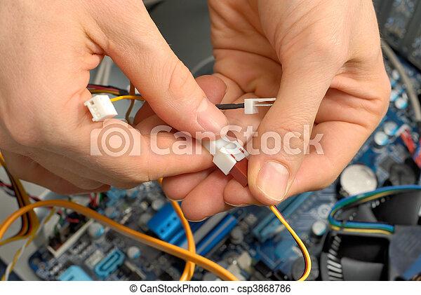 trabajo, technician\'s, manos - csp3868786