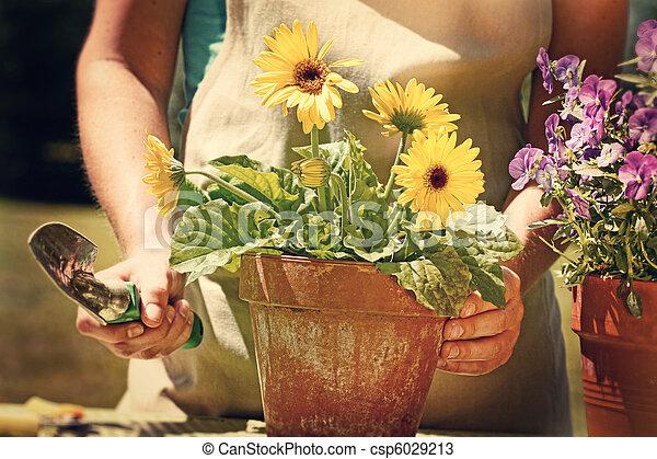 Una mujer que trabaja en el jardín con aspecto de cosecha - csp6029213