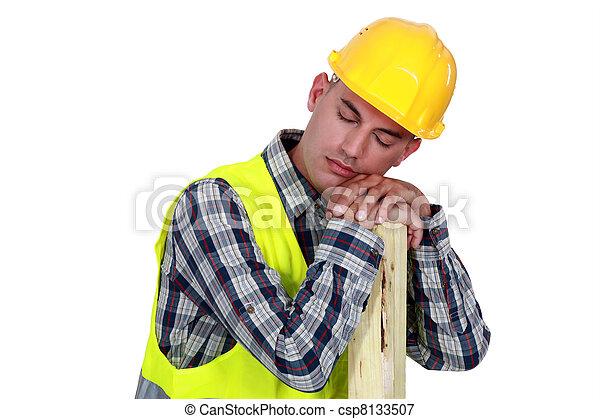trabalhador construção, dormir - csp8133507
