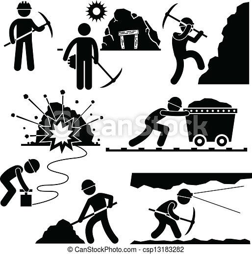 trabalhador, mineração, trabalho, mineiro, pessoas - csp13183282