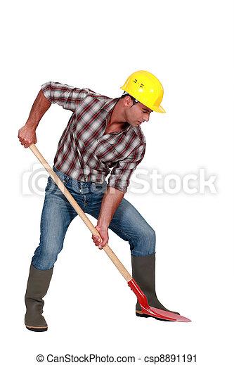 trabalhador, tiro estúdio, cavando - csp8891191