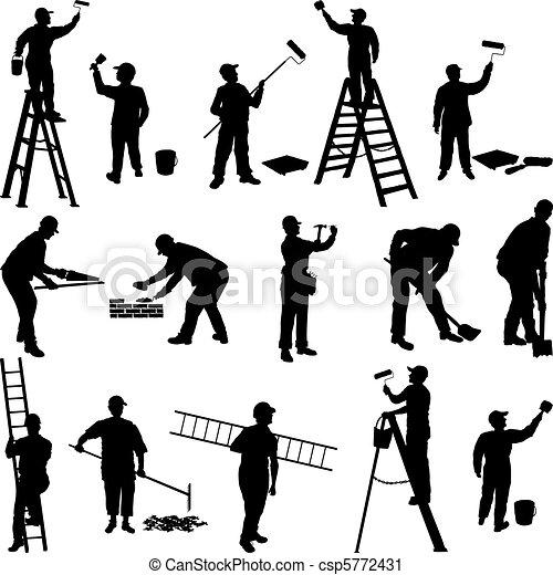 trabalhadores, grupo, silhuetas - csp5772431