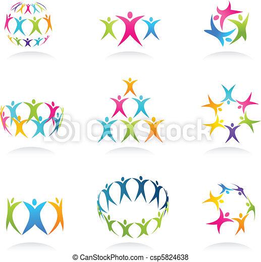 trabalho equipe, ícones - csp5824638