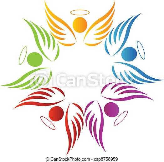 trabalho equipe, anjos, logotipo - csp8758959