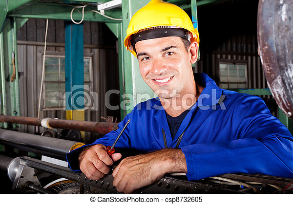trabalho, industrial, macho, mecânico, feliz - csp8732605