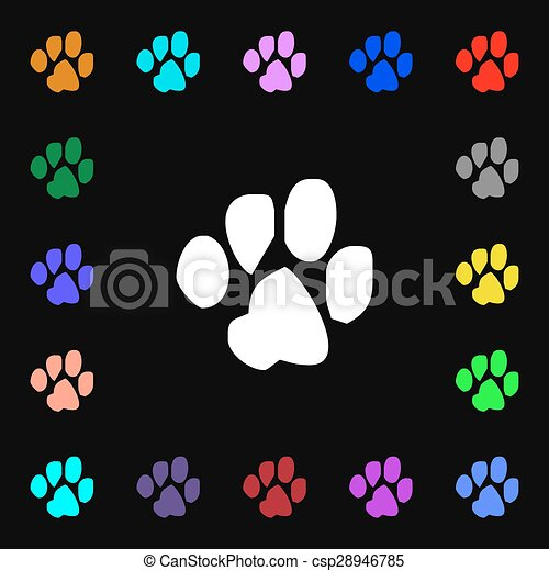 trace dogs iconi sign. Lots of colorful symbols for your design. Vector - csp28946785