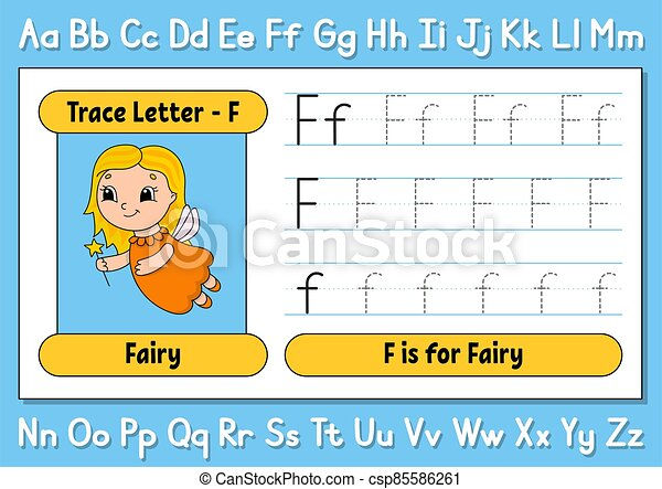 Trace Letters. Writing Practice. Tracing Worksheet For Kids. Learn Alphabet.  Cute Character. Vector Illustration. Cartoon CanStock