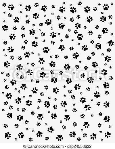 Black Trace Of Cats Seamless Vector Wallpaper