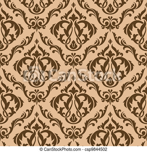 Tracery brown seamless pattern - csp9844502