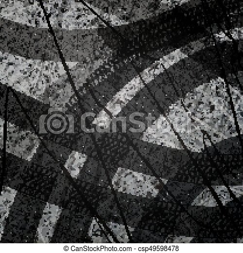 Traces of car tires on asphalt. Texture of asphalt surface. Tire marks, tire tread, tread marks. Sport. Street Race. Racing on machines. Controlled drift. Top view. Vector illustration background. - csp49598478