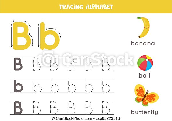 Tracing Alphabet Letter B With Cute Cartoon Pictures. Alphabet Tracing  Worksheet. A-z Writing Pages. Letter B Uppercase And CanStock