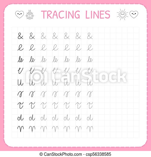 Tracing Lines. Basic Writing. Worksheet For Kids. Working Pages For  Children. Preschool Or Kindergarten Worksheets. Trace The CanStock
