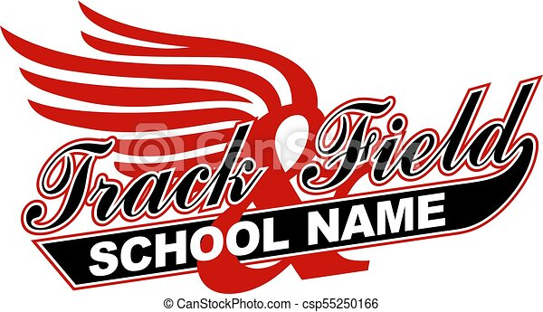 track field team design in script with tail for school clip rh canstockphoto ca track and field clipart free Fire Clip Art