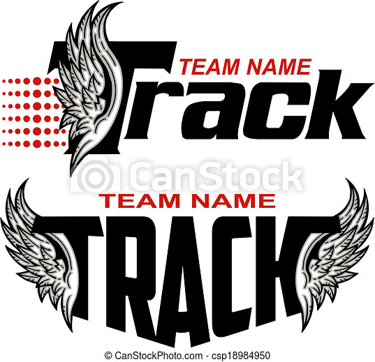 track team design with wings clipart vector search illustration rh canstockphoto com Puma Tracks Wolf Tracks Clip Art