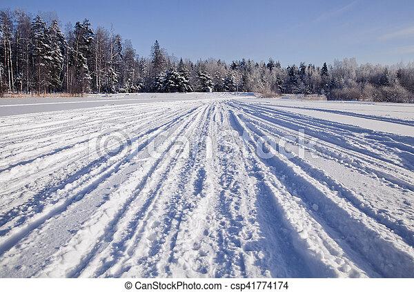 Tracks on snow - csp41774174