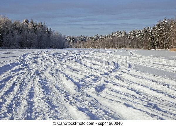 Tracks on snow - csp41980840
