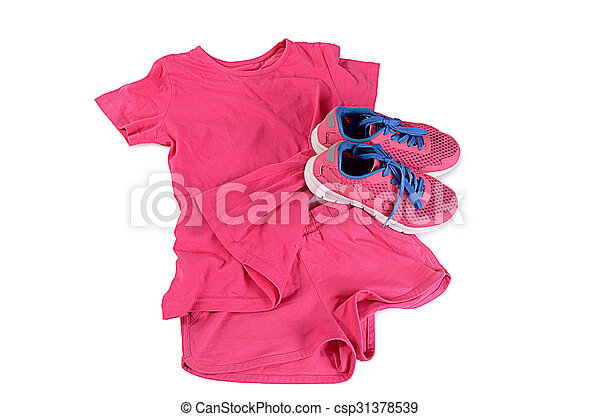 Tracksuit pink color isolated on white - csp31378539